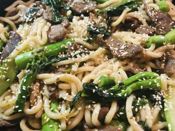 Beef and Gail Lan Udon Noodles